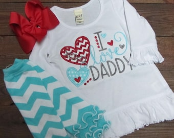 father day shirts for kids, I love daddy embroidered dress - daddy's girl valentine shirt -  girls valentine shirt - Fathers Day Shirt