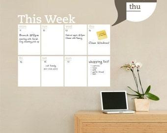 Dry Erase Weekly Calendar, Dry Erase Wall Decal, Weekly Planner, Weekly Calendar - by Simple Shapes