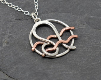 Aquarius Leo zodiac necklace sterling silver and polished copper