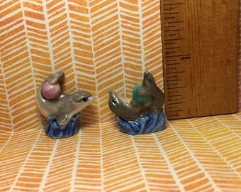 French Feves - 2 PLAYFUL DOLPHINS with Balls Porcelain Figurines Doll House Miniature Figurine Figure Feve Dolphin Porpoise KK26