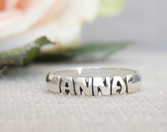 Name Ring - Sterling Silver - Personalized - 5mm Band - Gifts - Birthday - Wedding Ring - Anniversary - Baby Names - Hand Carved - Hand Made