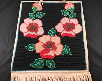 Fantastic Old Native American Flower Beaded Bead Bag with Fringe