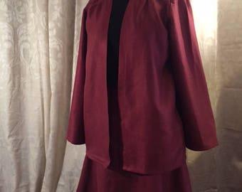 Rose Linen Jacket and reversible skirt