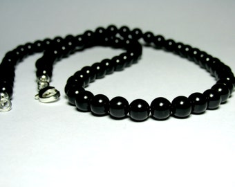 Mens Choker Necklace, Black Onyx Necklace, Mens Beaded Gemstone Necklace, Mens Jewelry, Gift for Him