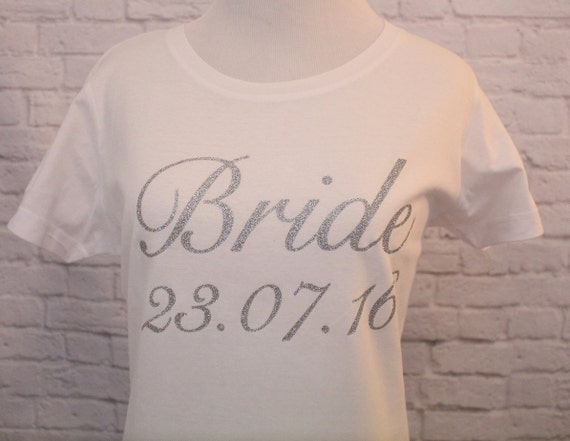 Bride with Wedding Date T-Shirt printed in Silver Glitter Women's Cut shirt