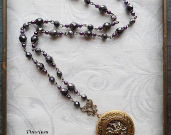 English Garden, Antique Button, Locket Necklace, Czech Glass Beads, Purple, Antique Brass, Timeless Trinkets,One of A Kind