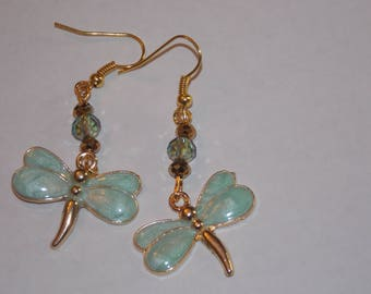 Light Green Gold Plated Dragonfly AB Green and Gold Crystal Earrings