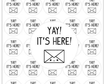 Happy Mail Yay Its Here Stickers Envelope Labels Happy Post Care Package Snail Mail Stickers