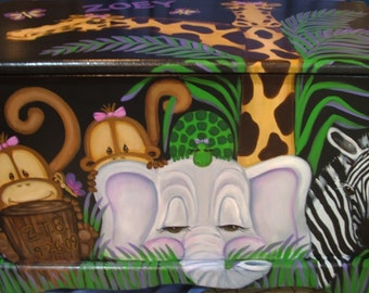 JUNGLE Toy Chest with Black background Custom Designed done with Monogram or Name, kids furniture, art and decor, wooden toy box
