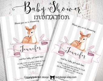 Baby Girl Shower Party Invitation - Little Deer- Printable digital file
