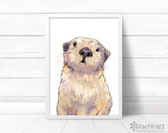 Cute Otter Print - Otter gift for her, Otter nursery animal art, Nursery Otter painting, cute Otter prints, Sea Otter birthday gift