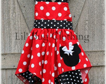 Custom Boutique Disney Minnie Mouse Red White Dot  And Black White Dots Handkerchief Party Dress