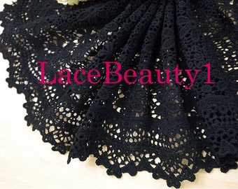 Embroidery lace trim black Lace Trim Vintage Lace trim floral lace trim 25cm width 1 yard length