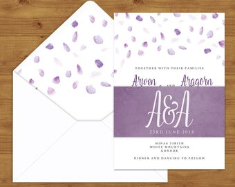 Lavender Petals Belly Bands and Envelope Liners - Spring Wedding - Lilac Wedding - Wedding Invitation Extras - Wedding Stationery