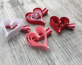 Triple Heart Hair Bow // Valentine's Bow // Valentine Hair Clip // Layered Heart Hair Bow // Pink Heart Clip // Red Heart Clip // Heart Clip