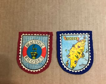Set 2 Vintage Rhodes Map Greek Felt and Iron On Patches