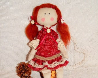Handmade fabric doll, cloth doll, Little Girl toys, Shabby doll, Rag doll, princess doll, Tilda doll