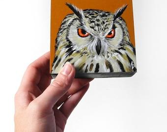 Angry owl painting, angry bird art, small owl artwork, original painting, wildlife decor, woodland owl miniature art, orange woodland decor