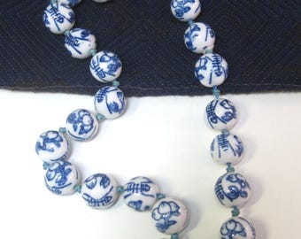 Vintage Chinese Knotted Hand Painted Porcelain Beads Necklace