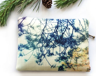 Clutch purse, zipper bag, for her, pouch, bridesmaid gift, woodland trees, SCOTTISH PINES