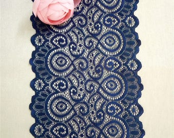 Navy Table Runners , 7inches / 18cm Wide, Navy Lace Runners For Wedding,  Navy