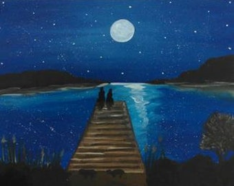 Moonlight Love on the Docks. Painting. Perfect for a gift to your loved one.