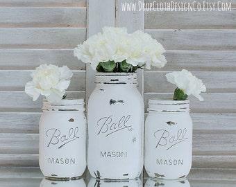 Painted Mason Jar - Annie Sloan Chalk Paint in Pure White