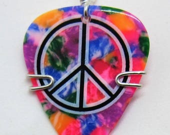 Tie Dyed Guitar Pick Pendant with Peace Sign