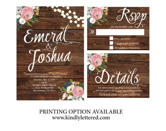 Rustic Wedding Invitation-Digital File-5x7-Country Wedding-Rustic Digital File-Wedding Printable-Wedding Suite Option Available
