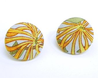 Fabric Button Earrings - Powder blue, mustard and geen floral - Gold plated post