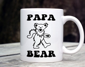 Papa Bear Mug - Grateful Dead inspired mug - Dancing Bear - deadhead gift - Father's Day Gift - Hippie Dad Gift - New Dad Gift