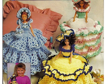 Southern Belle Trinket Boxes Crochet Fashion Doll Pattern Annie's Attic 87T82