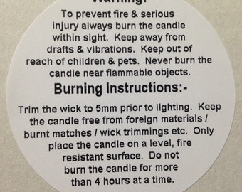Candle Warning / Safety, Candle Makers, Labels / Stickers. 32mm Diameter. Ideal for Jars, Tins, Containers.