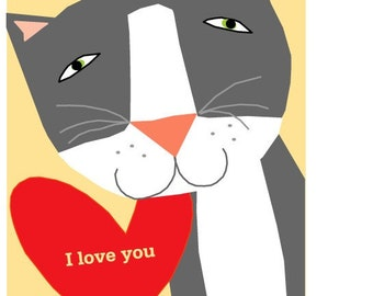 greeting cards  collection I love you kitty