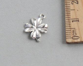 SALE, Sterling Silver Four Leaf Clover, Sterling Silver Lucky Clover Flower Charm, 925 Sterling Silver, Clover Flower Charm, 13mm( 1 piece )
