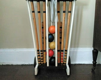 Vintage Croquet Set Vintage Lawn Game Nearly Complete Wooden Croquet Set With Stand Outdoor Game Set Party Outside Outdoor Social Game