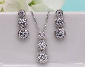 Wedding Jewelry Sets, Jewelry Sets for Brides, Round Wedding earrings, Halo cubic zirconia jewelry set, Ansely Triple Round Jewelry Set