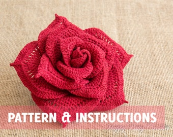 Crochet Rose Pattern - Crochet Flower Pattern - Crochet Pattern - Large Rose Pattern - INSTANT DOWNLOAD
