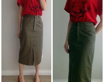 Vintage leather skirt/olive color skirt