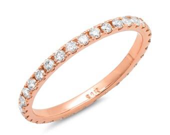 Rose Gold Eternity Band, Diamond Wedding Ring, Anniversary Ring, Rose Gold 14k, 18k