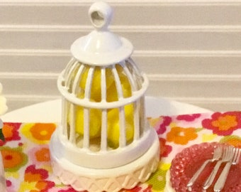 Dollhouse Miniature White Metal Cage With Lemons, Yellow Decor, Table Decor 1:12 Scale