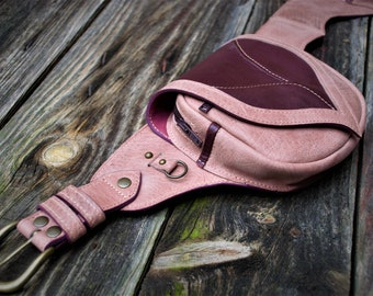 """belt with pockets """"sheet of leather"""" homemade"""