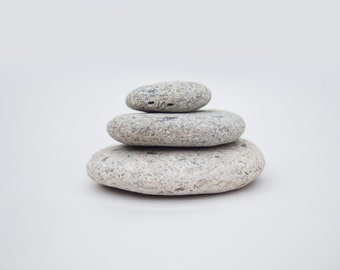 ZEN MEDITATION TRIO, flat stacking stones, pale smooth stones, anxiety mindfulness, natural fidget toy, office desk art, mini sculpture