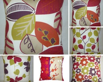 """5 Red Pillows Set Green Plum Taupe Designer Cushion Covers Throw Accent Scatter Pillows 16"""" (40cm)"""