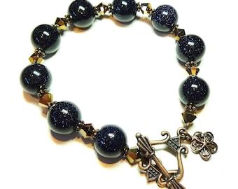 Dark Blue Goldstone & Copper Crystal Bracelet 20.5cm