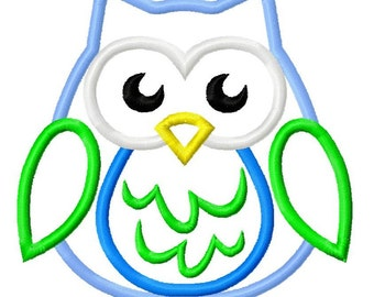 Owl Applique 3 Embroidery Design 4x4 5x7 6x10 Fall Euro INSTANT DOWNLOAD