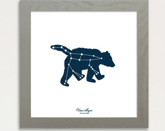 Constellation Art Print, Ursa Major Big Dipper Screen Printed 12x12 Night sky stars, Glow in the dark, Great Bear Constellation