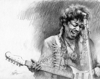 Digital Download, Jimmy Hendrix,pencil sketch by Roger Pan