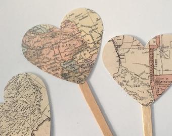 Vintage Map Cupcake Toppers Atlas Travel Graduation Bon Voyage Weddings Showers Gift Tags Option Custom Option
