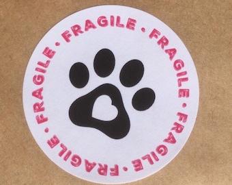 "Fragile paw  stickers - 50 1.5"" circular"